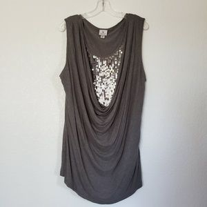 Gray Drappy Front Sequins Top